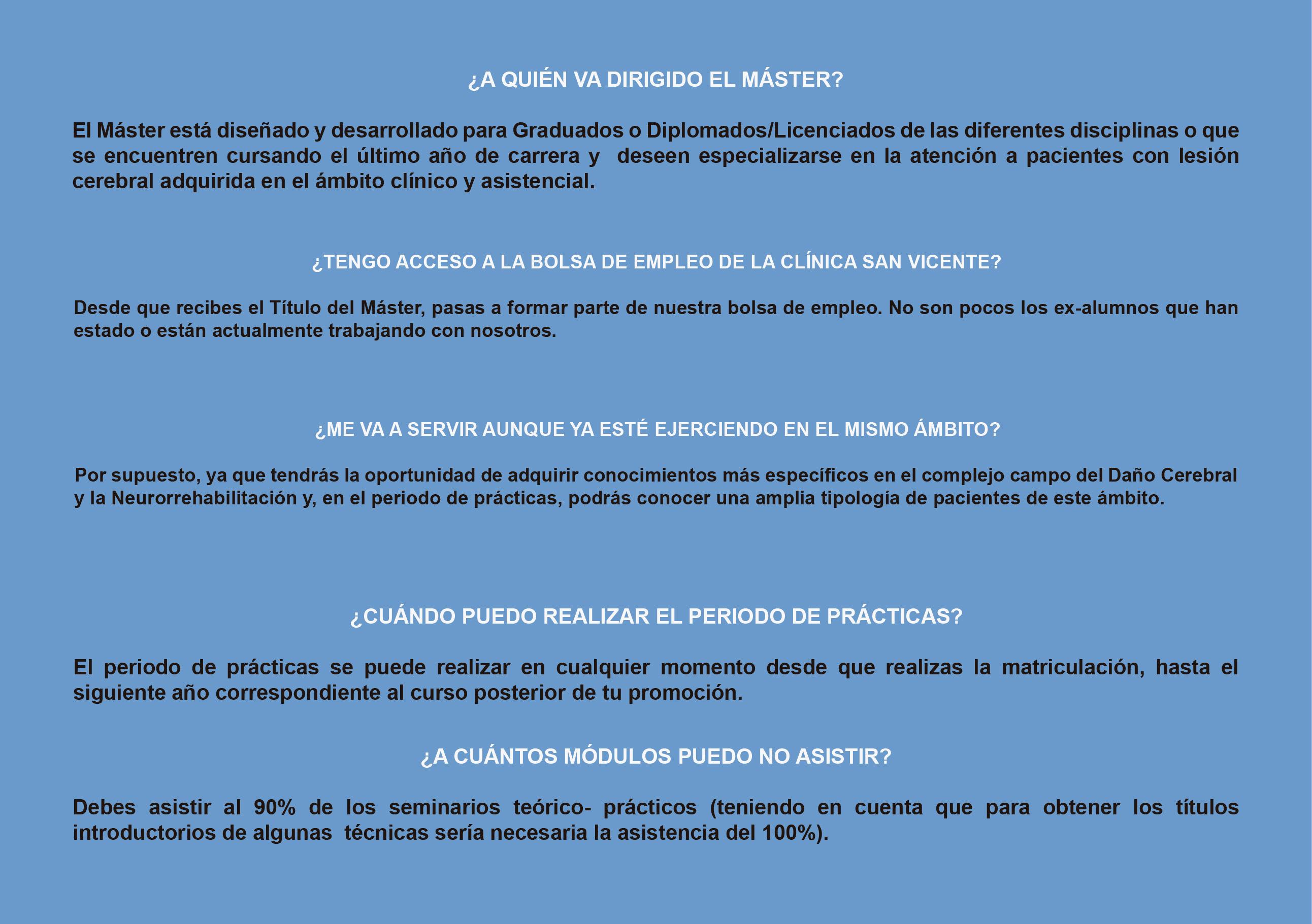 FAQ Máster de Terapia Ocupacional en DCA Clínica San Vicente