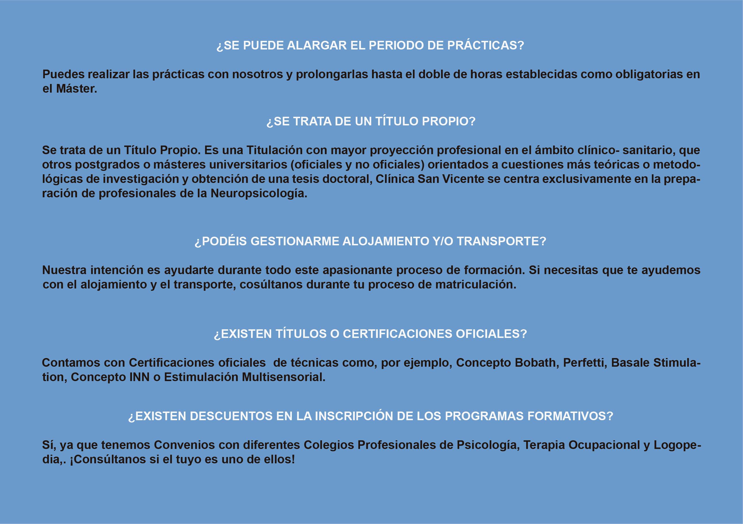 FAQ Máster de Terapia Ocupacional en DCA Clínica San Vicente de daño cerebral