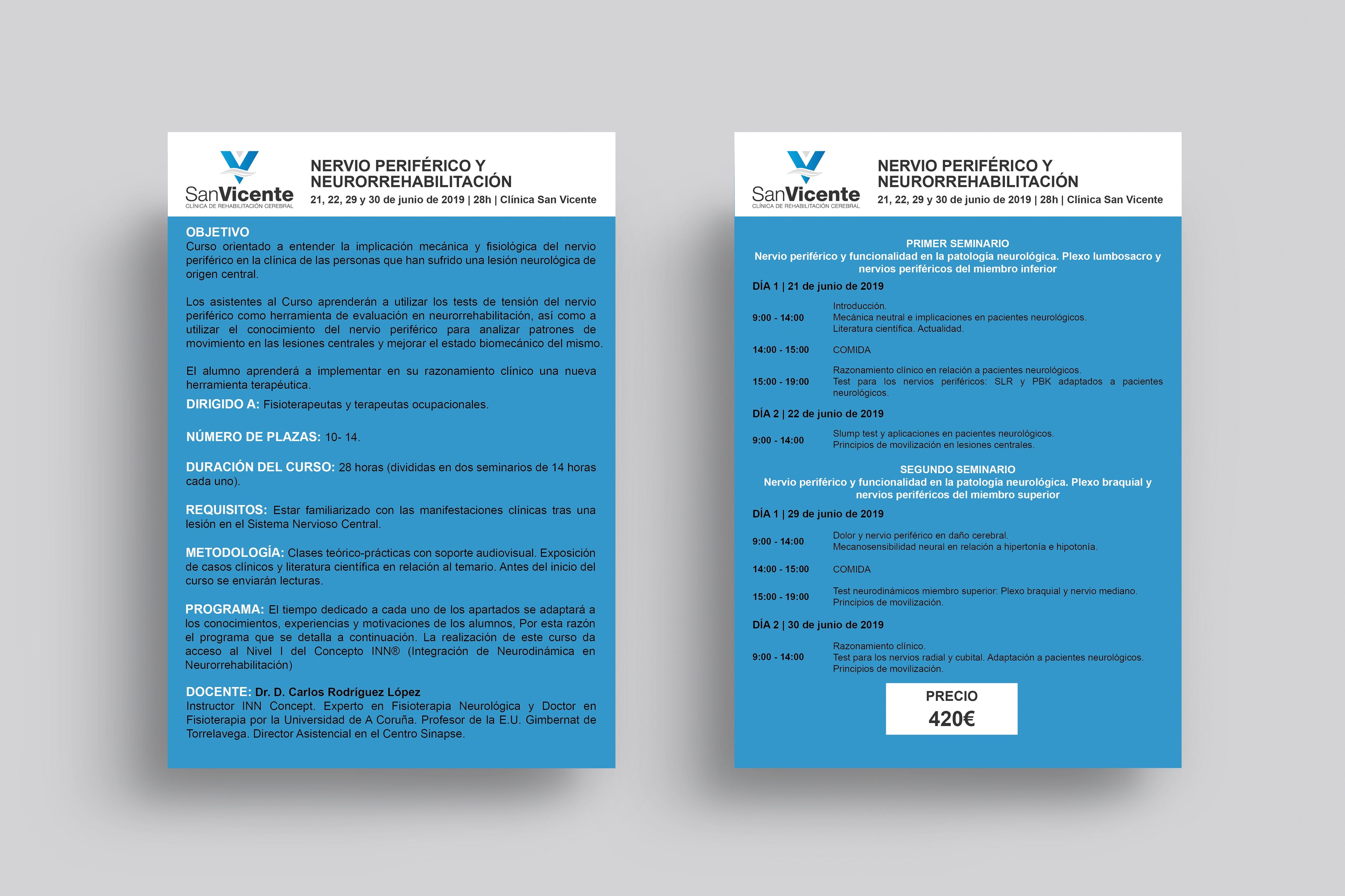 Curso Nervio Periférico y Neurorrehabilitación en Clínica San Vicente de Madrid